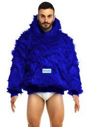 Modus Vivendi Mongolian Neon Fur Hoodie Blue