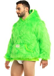 Modus Vivendi Mongolian Neon Fur Hoodie Green