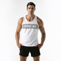 Code 22 A Wide Stripe Tank Top White