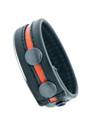 ruff GEAR Leather Cock Strap Black Orange