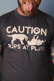 Burly Shirts Caution Pups At Play T Shirt Black