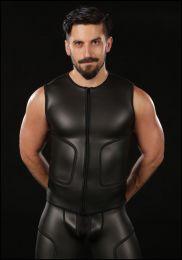 Mr S Leather Neoprene Cyber Tee Black
