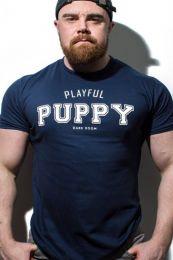 Dark Room Playful Puppy T Shirt Navy