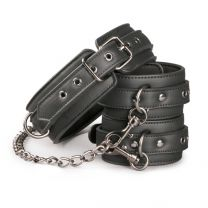 EasyToys Leather Collar with Ankle Cuff