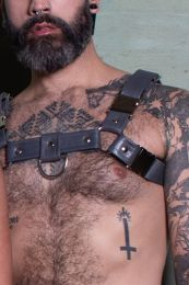 Gilded Fetish Leather Bulldog Harness Grey