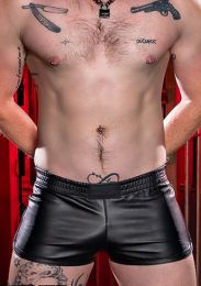 Mr S Leather Leather Gym Short with Zipper Pocket Black