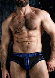 Locker Gear Josh Bottomless Brief with Zipper Blue