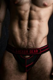 Locker Gear Open Front Jockstrap Black Red