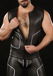 Mr S Leather Neoprene Cyber Tee Black White