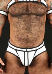 Mr S Leather Neoprene Full Access Brief White Black