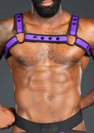 Mr S Leather Bold Colour Bulldog Harness Purple Black