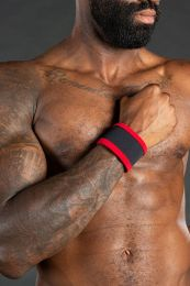 Mr S Leather Neo Carbon Wristband Black Red
