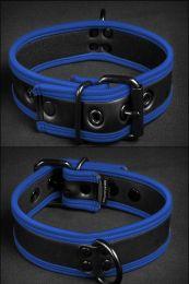 Mr S Leather Neoprene Puppy Collar Black Blue