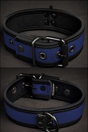 Mr S Leather Neoprene Puppy Collar Navy Black