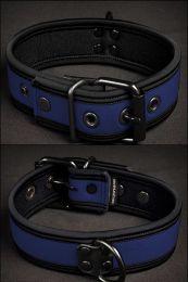 Mr S Leather Neoprene Puppy Collar Navy Black