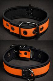 Mr S Leather Neoprene Puppy Collar Orange Black