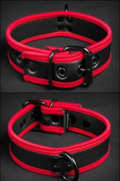 Mr S Leather Neoprene Puppy Collar Black Red
