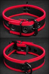 Mr S Leather Neoprene Puppy Collar Black Red