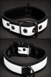Mr S Leather Neoprene Puppy Collar White Black
