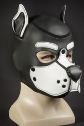 Mr S Leather Neoprene K9 Puppy Hood Black White