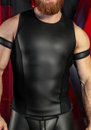 Mr S Leather Neoprene Muscle Tank Top Black