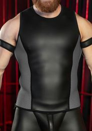 Mr S Leather Neoprene Muscle Tank Top Black Grey