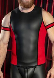 Mr S Leather Neoprene Muscle Tank Top Black Red