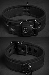 Mr S Leather Neoprene Puppy Collar Black Black
