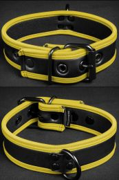 Mr S Leather Neoprene Puppy Collar Black Yellow