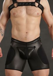 Mr S Leather Neoprene Sport Short Black