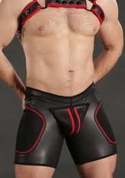 Mr S Leather Neoprene Sport Short Black Red