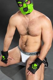 Mr S Leather Open Paw Puppy Gloves Black Lime
