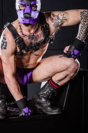 Mr S Leather Open Paw Puppy Gloves Black Purple