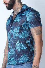 Timoteo Riviera Mesh Shirt Palm Print Green