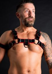 ruff GEAR Double Tone Leather Bulldog Harness Red Black