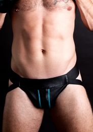 ruff GEAR Double Tone Leather Zip Jockstrap Aqua Black