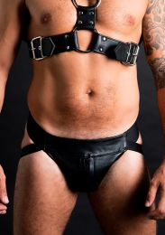 ruff GEAR Double Tone Leather Zip Jockstrap Black