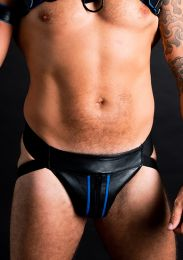 ruff GEAR Double Tone Leather Zip Jockstrap Blue Black