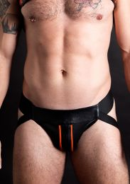 ruff GEAR Double Tone Leather Zip Jockstrap Orange Black