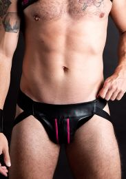 ruff GEAR Double Tone Leather Zip Jockstrap Pink Black