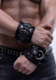 ruff GEAR Leather Padded Locking Wrist Restraints Black