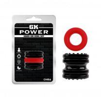Gk Power Hard On Cock Ring Set Black Red