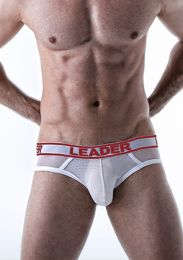 Leader Shock Backless Brief Red White