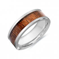 Tungsten Carbide Wood Inlay Ring Size 9.5 (TC34-9.5)