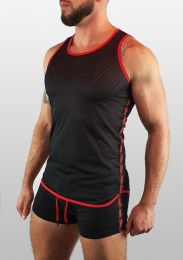 ruff Gear Mesh Tape Tank Top Black Red