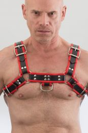 Triton Leather Colour Piping H Front Harness Black Red