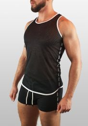ruff Gear Mesh Tape Tank Top Black White